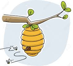 a cartoon beehive with bees coming and going stock photo picture