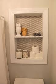 frosted bathroom door recessed builtin storage bathroom light