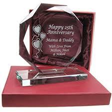25 wedding anniversary gifts 25th wedding anniversary gift engraved presentation cut glass