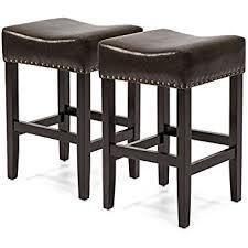 amazon com chantal backless black leather counter stools w