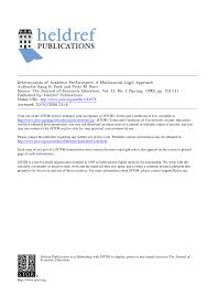 determinants of academic performance a multinomial logit approach