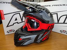 goggles motocross new airoh twist avanger helmet matt grey red u0026 thor red