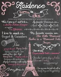 custom first birthday colored chalkboard poster invitation paris