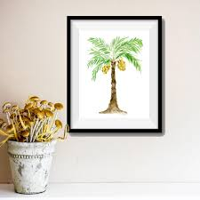 palm tree art print palm tree watercolor print green brown zoom