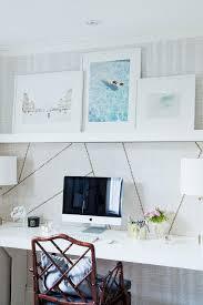 Floating Office Desk White Floating Desk With Overhead Shelf Transitional Den