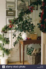 garlands of holly and ivy with conifer branches decorating