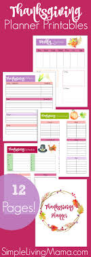 thanksgiving menu planner printables simple living