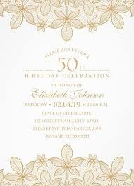 golden lace 50th birthday invitations elegant luxury cards