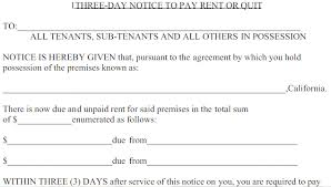 3 day notice prior to pay or quit u2013 rent template u2013 analysis template