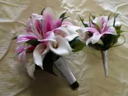 Calla Lily Bouquets Real Touch Stargazer Oriental Lilies And Calla Lilies Bridal