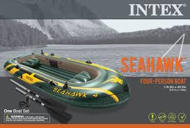 boats u0026 water sports walmart com intex seahawk 4 inflatable 2 person floating boat raft set with