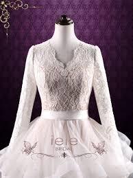 modest long sleeves wedding dress with ruffle ball gown skirt
