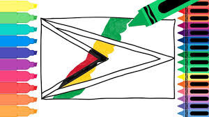 how to draw guyana flag drawing the guyanese flag coloring