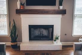 modern white brick fireplace u0026 walnut mantel diy u2013 the southern trunk