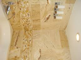bathroom minimalist decorations with brown travertine tile shower