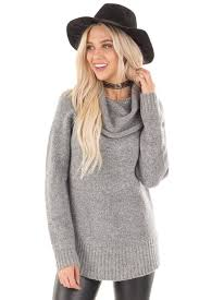 cowl sweater grey two tone side slit cowl neck sweater lime lush