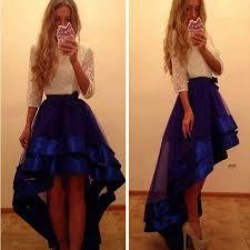 prom dresses three quarter sleeves white lace royal blue