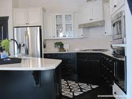 black lower kitchen cabinets white simple details builder beige to black