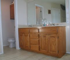 Wood Bathroom Vanities Cabinets cheerful design ideas using rectangular white sinks and
