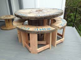 Bar Patio Table 5 Wire Spool I Made Into A Bar Height Patio Table With 4 Stools