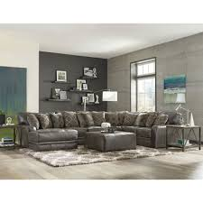 casual classic 5 piece steel gray leather match sectional rc