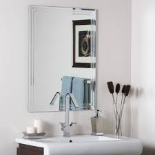 Bathroom Mirrors Lowes by Bathroom Light Up Your Home With Frameless Beveled Mirror