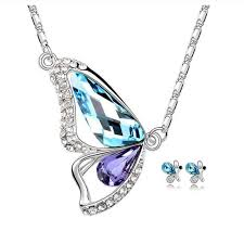 purple fashion jewelry necklace images Buy online necklace set butterfly shaped pendant set white gold jpg