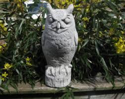 concrete owl statue etsy