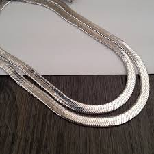 silver chain necklace snake images Mcsays hip hop chain 31inch long silver snake chain bling flat jpg