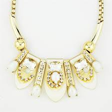 white crystal necklace images Blooming petal necklace white crystal statement necklace by jpg