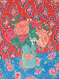 saatchi art peonies and roses in flamingo vase against red