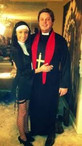 couples priest and pregnant nun costume religious funny fancy