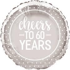 60 year wedding anniversary to 60 years wedding anniversary party 18 foil helium balloon