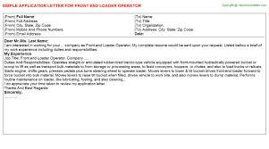 front end loader operator application letter