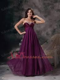 dark purple empire sweetheart floor length chiffon beading prom