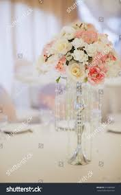 beautiful wedding decorations flowers delicate pink stock photo