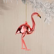 tropical glass ornament flamingo west elm
