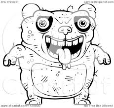 cartoon clipart of an outlined drooling ugly panda black and