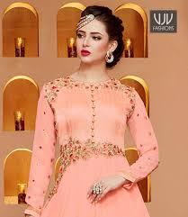 peach color buy new bridal anarkali salwar suit indian bollywood
