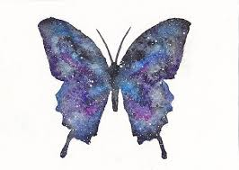 galaxy space butterfly watercolor 5x7 by everlastingfantasy