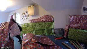 Pranks For Bedrooms Woman Wraps Everything In Boyfriend U0027s Bedroom In Christmas