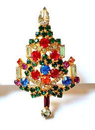 signed warner rhinestone christmas candle tree pin brooch earring