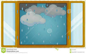 cartoon scene with weather in the window rainy stock