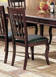 Dining Room Chairs Cherry Set Of 2 Dining Chairs Black Leather Like Rich Cherry