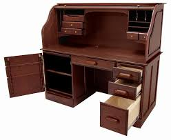 Roll Top Computer Desks 60 W Solid Oak Rolltop Computer Desk In Cherry Finish In Stock
