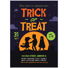 Trick Or Treat Halloween Party Invitations Paper Blast