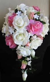 Cascading Bouquet Natural Touch Pink U0026 Off White Rosess Cascading Bouquet