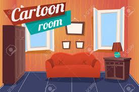 cartoon apartment livingroom interior house room retro vintage