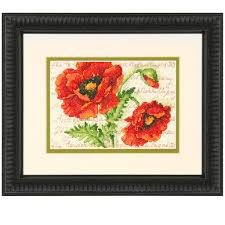 dimensions counted cross stitch kit poppy pair