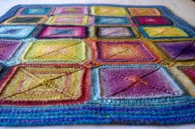 knitting blankets and a pattern for mitred squares knit as you go